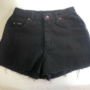 Vintage Lee Black Denim Cut Off Shorts-Sz 28